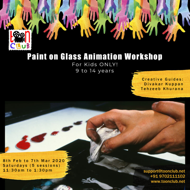 Paint on Glass Animation Workshop at Toon Club, India